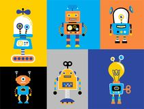 Set of cute vintage robots. Banner with robot toys collection Royalty Free Stock Image