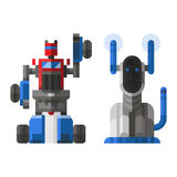 Set of cute vintage robots vector. Royalty Free Stock Images