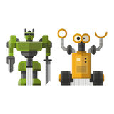 Set of cute vintage robots vector. Stock Photo