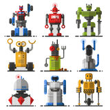 Set of cute vintage robots vector. Royalty Free Stock Photo