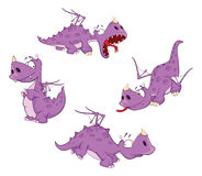Set of cute violet dragon for you design. Cartoon. Set of various violet dragons Stock Images