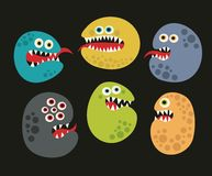 Set of cute virus monsters. Stock Photos