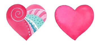 Set of cute watercolor hearts. Love symbols. Hand painted illustration for Valentine`s day. Isolated on white background Royalty Free Stock Images