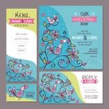 Set of cute wedding cards Stock Image