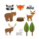 Set cute wild animal with natural trees. Vector illustration Royalty Free Stock Photography