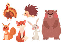 Set of cute wild animals royalty free illustration