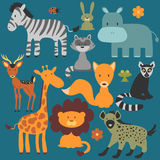 Set of cute wild animals Royalty Free Stock Images