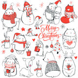 Set with cute winter animals Royalty Free Stock Photos
