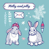 Set of cute winter and christmas  drawings, bunnies, tree branches, stars Royalty Free Stock Image