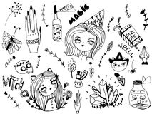 Set of cute witch, magical and halloween elements. Hand drawn sketch style for design stock illustration