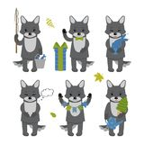 Set of cute wolf characters isolated on white background. Collection of autumn characters. Vector illustration in cartoon style stock illustration