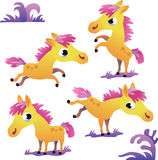 Set of cute yellow cartoon pony Stock Images