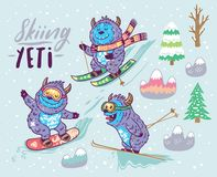 Set of cute yeti skiing in the mountain. Vector illustration Royalty Free Stock Photo