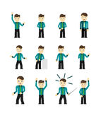 Set of cute young businessmen character poses Stock Image
