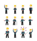 Set of cute young businessmen character poses Stock Photos