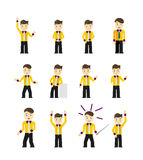 Set of cute young businessmen character poses Stock Photography