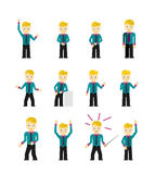 Set of cute young businessmen character poses Royalty Free Stock Photography