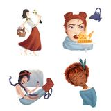 Four young girl`s lifestyle situations. Set of cute young girls with emotions and lifestyle situations Vector Illustration