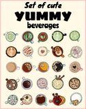 Set of cute yummy beverages. Cups of tea and coffee doodles. Hand drawn cartoon style collection of doodles vector illustration