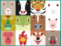 Set of cute zodiac animals face in square. Set of colorful Chinese zodiac animals face in square, eyes, nose and mouth royalty free illustration