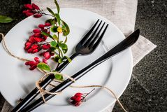 Set of cutlery with autumn decoration Royalty Free Stock Photo