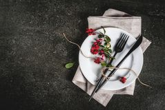 Set of cutlery with autumn decoration Stock Photos