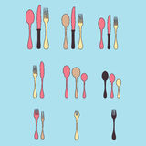 A set of cutlery. Cutlery spoon, fork, blender, knives. Cutlery for cooking. A set of cutlery for serving. Royalty Free Stock Images