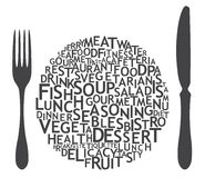 Set of cutlery icons. Typography Royalty Free Stock Photography