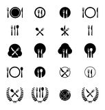 Set of cutlery icons. Icon vector illustrations of fork, knife and spoon arranged in different ways royalty free illustration