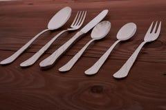 Set cutlery na drewnianym stole Fotografia Stock