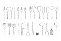 Set of cutlery outlines,  illustration. Collection of cutlery outlines,  illustration Royalty Free Stock Photo
