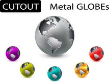Set of cutout metal globes Royalty Free Stock Images