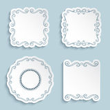 Set of cutout paper frames with flourish ornament Royalty Free Stock Photos