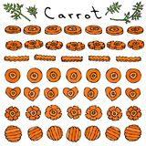 Set of Cuts and Slices of Carrot of Different Shapes Round, Flower, Heart, Wave. Ripe Vegetables. Vegetarian Cuisine royalty free illustration