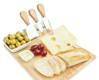 Set for cutting cheese and snacks for wine. Royalty Free Stock Photography