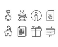 Cv documents, File settings and Gift box icons. Medal, Coffee cup and Credit card signs. Set of Cv documents, File settings and Gift box icons. Medal, Coffee Royalty Free Stock Photo