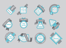 Set of cyan seals with gray ribbons Stock Photography