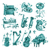 Set of cyan watercolor musical instruments. Royalty Free Stock Image