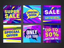 Set Cyber design template banner, card, postcard for super sale. Bright colorful geometric abstract poster for Royalty Free Stock Photo
