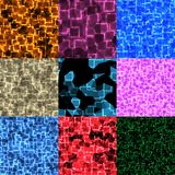 Set of cyber glow seamless generated textures Royalty Free Stock Photography