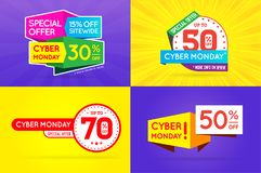 Set of Cyber Monday Sale Signs, Banners, Posters, Cards. Vector. High Quality Vector Illustration in EPS 10 Stock Photo