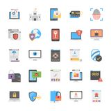 Set Of Cyber Security Icons Flat Design Royalty Free Stock Photos