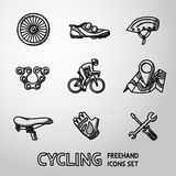 Set of Cycling freehand icons  - wheel, shoe Royalty Free Stock Photos