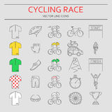 Set of 25 Cycling Race modern linear icons. Royalty Free Stock Image