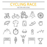 Set of 20 Cycling Race modern linear icons Stock Photography