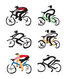 Set of Cyclist ink drawings. Royalty Free Stock Images