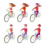 Set cyclists to ride a bike in different physical shape. athletes vector images. Set cyclists to ride a bike in different sportswear. athletes vector images on a Stock Photos