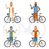 Set of Cyclists Royalty Free Stock Photography