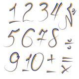 Set cyfry od jeden dziesięć pisać w iryzującego konturze, plus, minus, podział, mnoży, równy Obrazy Stock