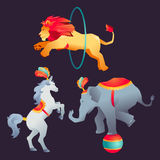 Set cyrk trenował dzikie zwierzę występ odizolowywającego na bielu Obraz Royalty Free